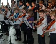 CFW and friends on stage  in Dunoon Grammar School March 2012